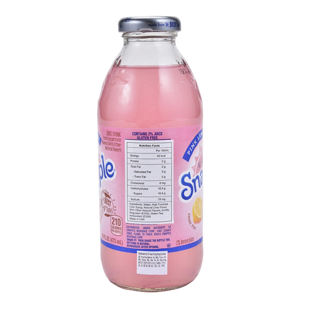 Snapple Pink Lemonade 16oz--Wing On NETshop