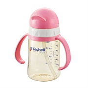 Richell PPSU Straw Bottle 991244 200ml(Pink) (6pcs)
