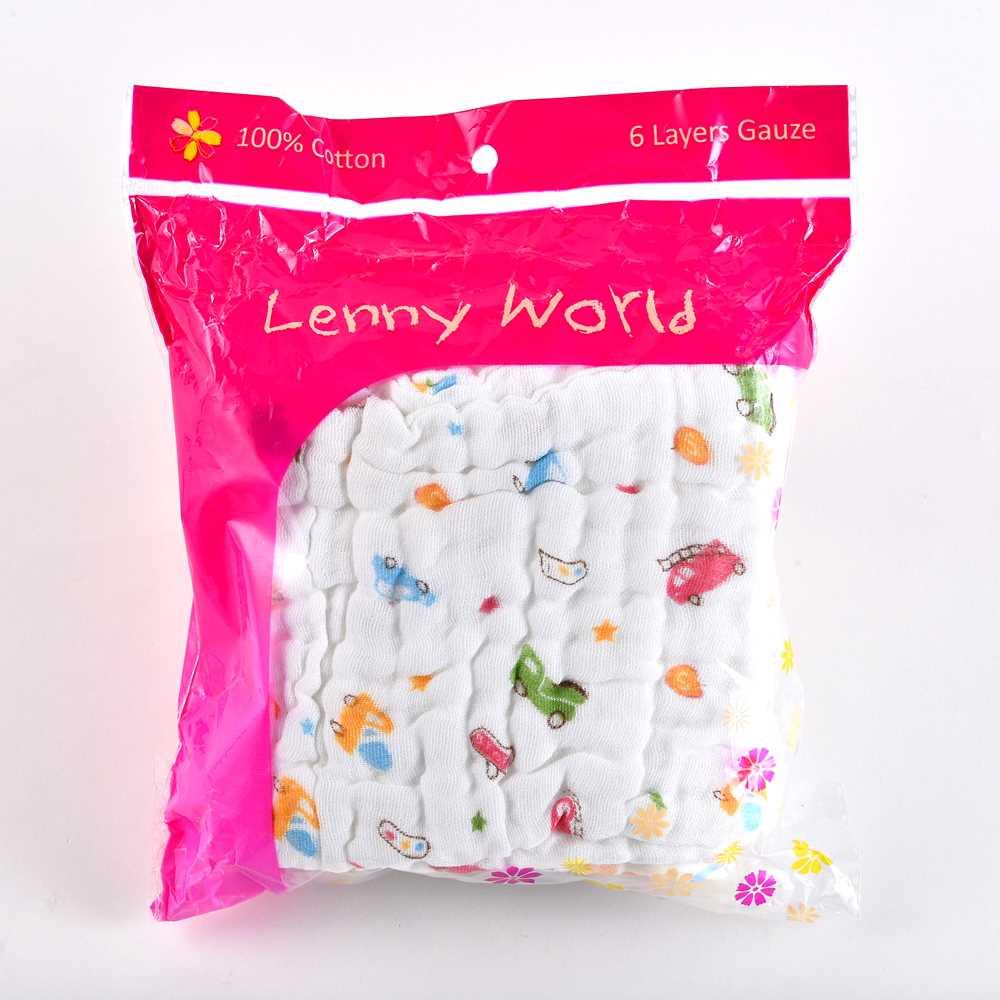 Lenny World全棉6层婴儿纱布巾(五件装)LW1035