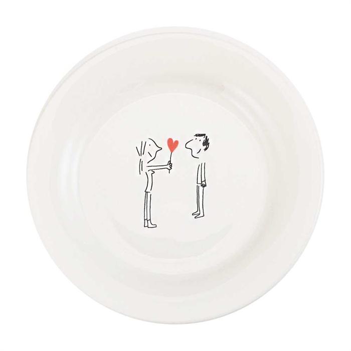 Gien Amoureux series - canape plate 16.5cm - Couple 1 coeur