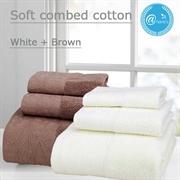 @Home's - (2 Set)Soft combed cotton bath towel set (White+Brown)