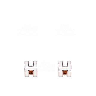 Hermes Mini Pop H Earrings 耳環 白色配玫瑰金色