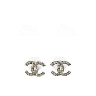 Chanel 經典金色水鑽CC Logo耳環