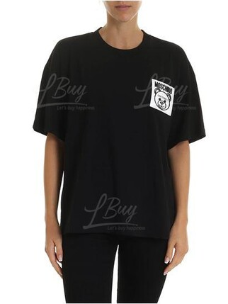 Moschino Couture 口袋泰迪熊Logo 短袖T恤 黑色