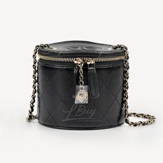 Chanel Vanity Case 黑色鏈帶小圓桶梳妝袋