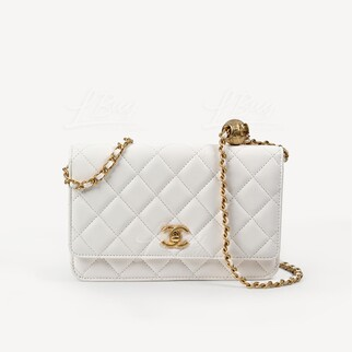Chanel 小金球白色WOC鏈帶包