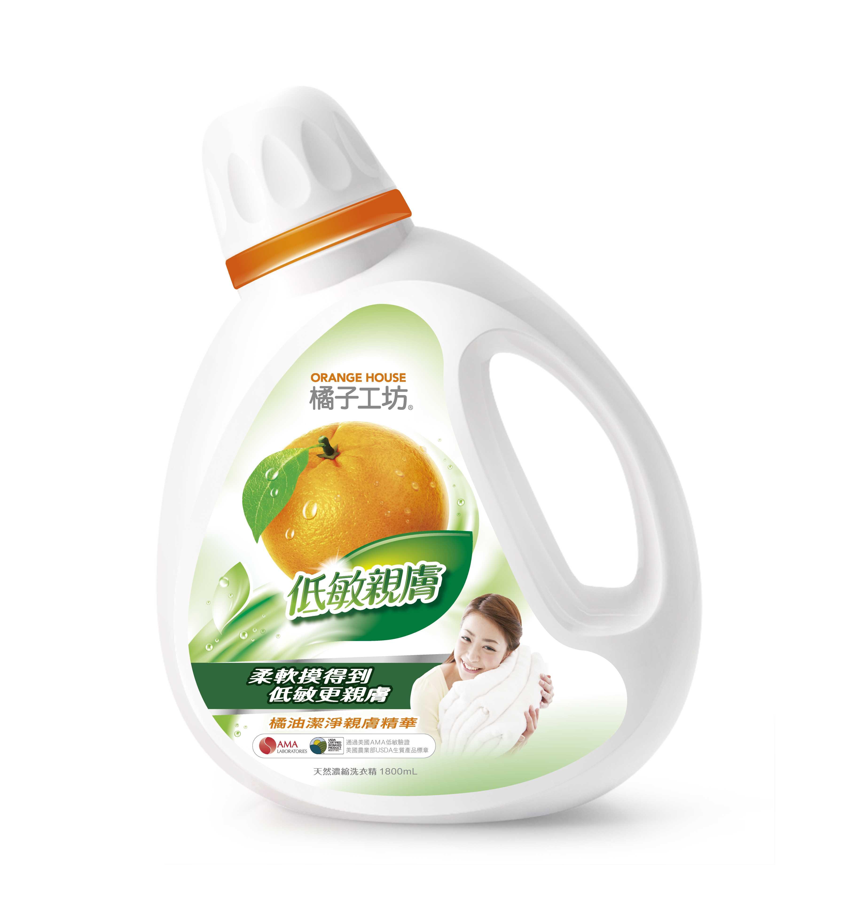 橘子工坊天然濃縮洗衣精-低敏親膚 1800ml