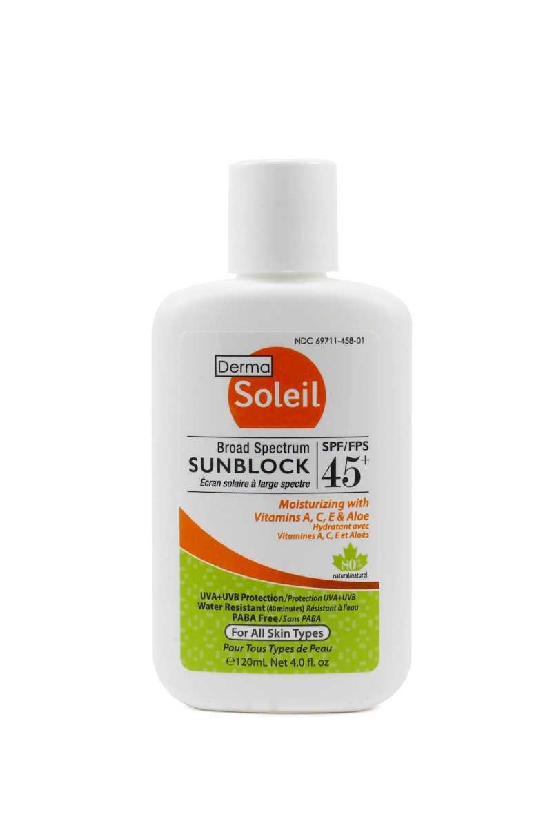 Derma Soleil 80% Natural Adult Sunblock 45 (120ml)