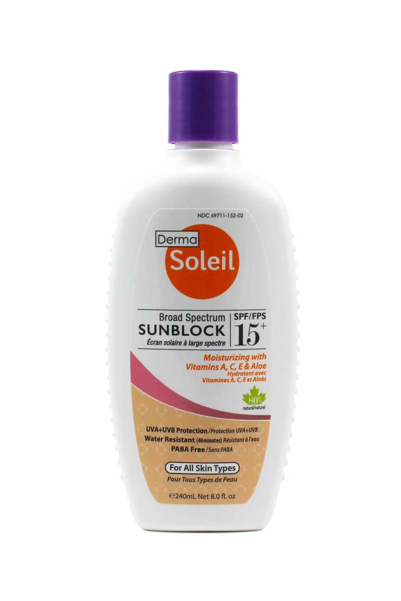 Derma Soleil 80% Natural Adult Sunblock SPF15 (240ml)