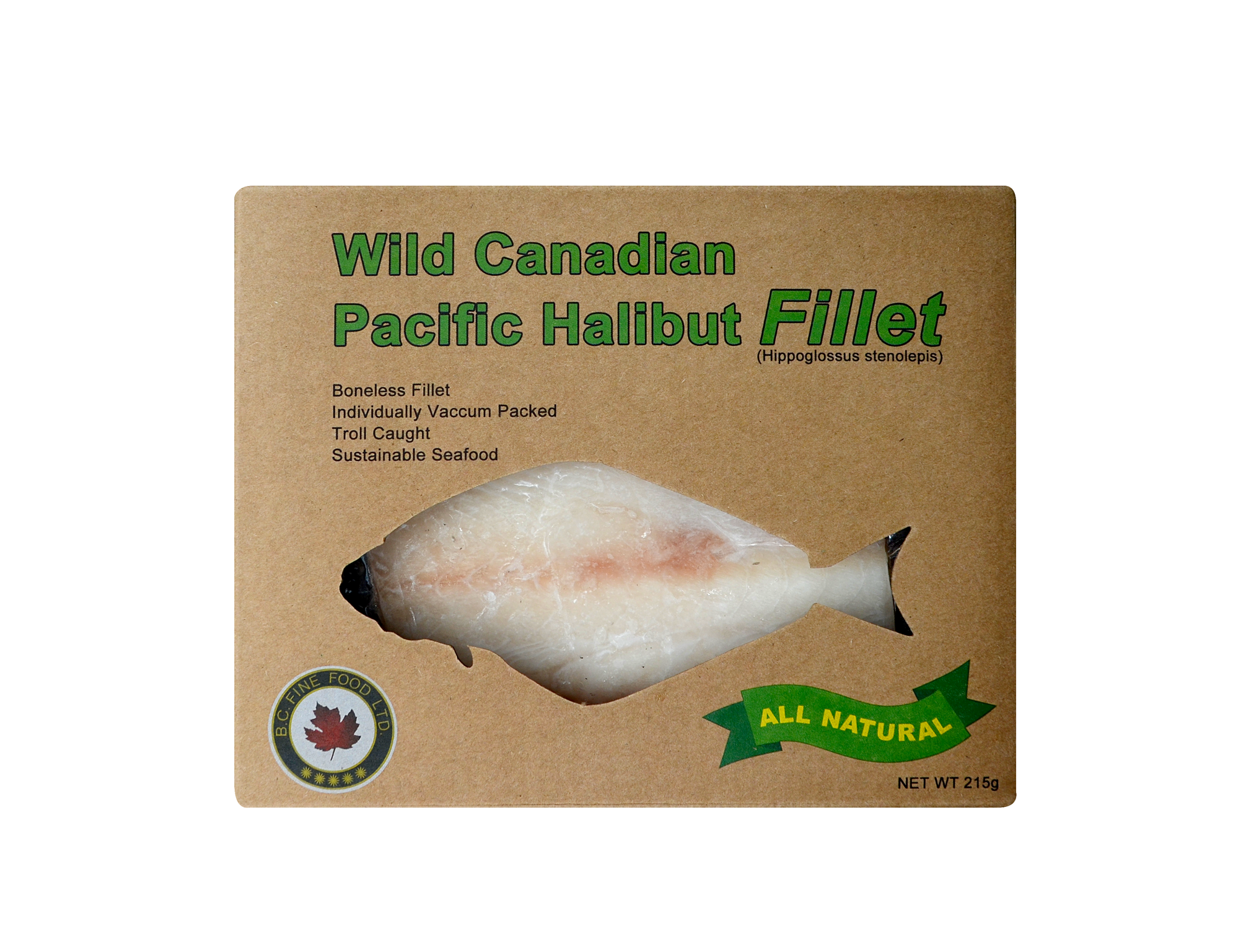 Wild Canadian Pacific Halibut Fillet  [Frozen freight collect (about $150)/Frozen shipping fee of less than $500 will be paid at first $80, and the difference will be paid after the goods arrive]