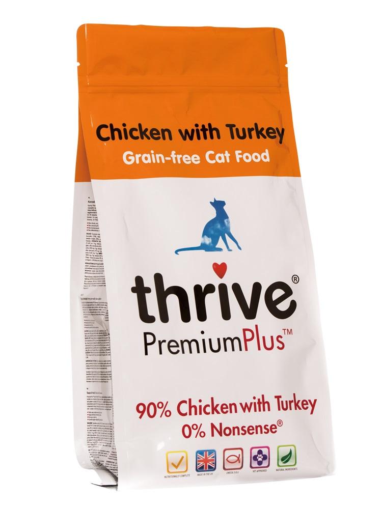 Thrive PremiumPlus 90%鮮雞肉加火雞無榖物貓乾糧1.5kgx2包