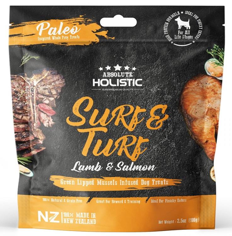 Absolute Holistic Surf & Turf 超越巔峰鮮食肉片-天然放牧羊+衝浪三文魚+綠貽貝+牛磺酸 100g