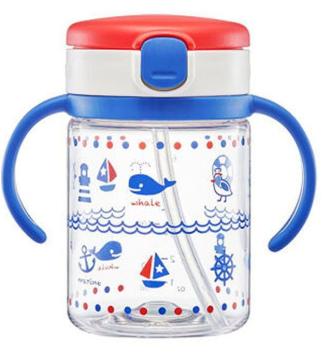 Richell AQ 吸管水杯 200ml (藍色鯨魚) <0219>